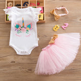 1 Year Girl Baby Birthday Dress Romper+Tutu Dress+Headband Cheap Newborn Clothes 12Months Christening Gown Toddler Unicorn Dress