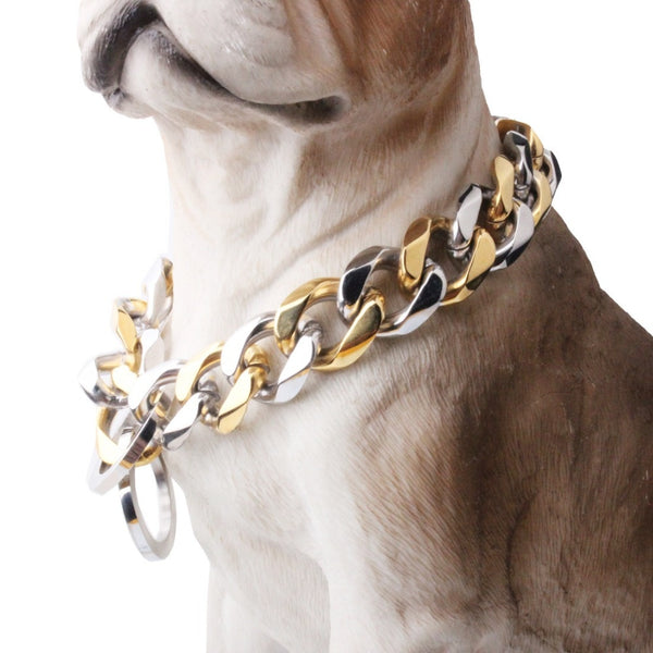 "10/12/15/17/19MM Strong Heavy 316L Stainless Steel Silver Gold Curb Cuban Dog Chain Pet Collar Choker Necklace 12""-34"" Hotsale"