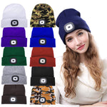 10-Colors Unisex LED Beanie Hat with USB Rechargeable Battery for 5-Hour High Powered Light for Outdoor Hunting Fishing Camping