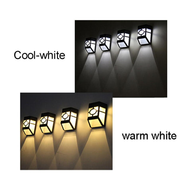 New 2 LED LIGHT SET High Quality Wall Lamp Solar Light 2 LED Outdoor Garden Wall Path Yard Landscape Lighting Cool White Warm White