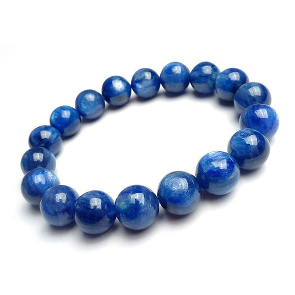 100% Genuine Blue Natural Kyanite Gemstone Bracelets For Women Men Power Crystal Round Bead Stretch Bracelet 10mm AAAAA