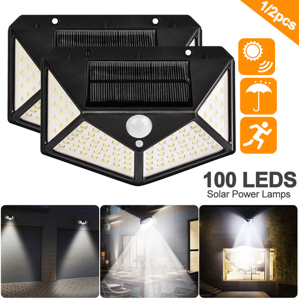 100 LED Four-Sided Solar Power Light 3 Modes 120 Degree Angle Motion Sensor Wall Lamp Outdoor Waterproof Yard Garden Lamps