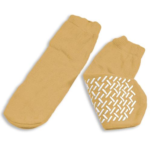 Slipper Socks; XL Beige Pair Men's  10-12  Wms 11-13