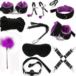 10pcs Fetish BDSM Sex Bondage Restraint Kit Games Erotic Accessories for Couples Mask, Collar Mouth Gag Handcuffs whip Sex Toys