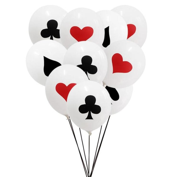 10pcs Poker Theme Clubs Diamonds Spades Hearts 12inch Latex Balloon Casino Family Party Poker Theme Balloons Decoration Supply