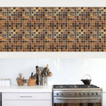 10pcs/lot 3D Mosaic Tile Brick Wall Stickers Geometry Square Floor Decal For Kitchen Bathroom Self Adhesive Wall Paper Hot Mural