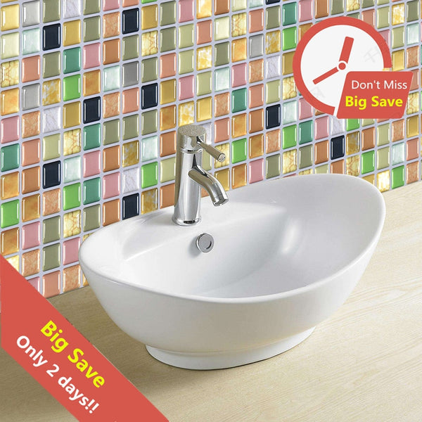 10pcs/lot 3D Mosaic Waterproof Stickers For Bathroom Kitchen Backsplash Self Adhesive Home Wall Renovation Tile Brick Wallpaper