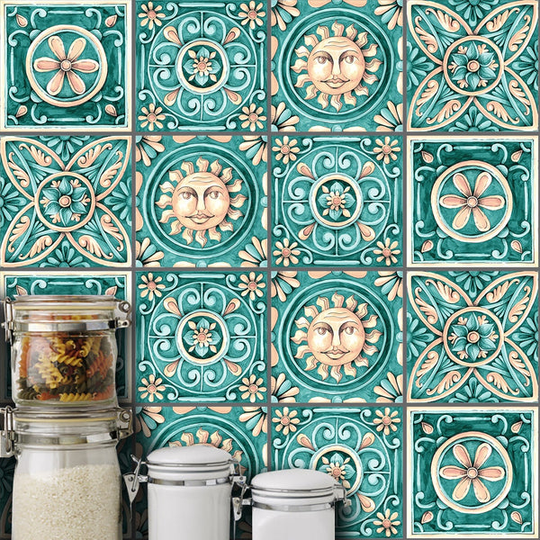 10pcs/set 15/20cm DIY Italy Style Mosaic Wall Stickers Waist Line Kitchen Adhesive Bathroom Toilet Waterproof PVC Wall Sticker