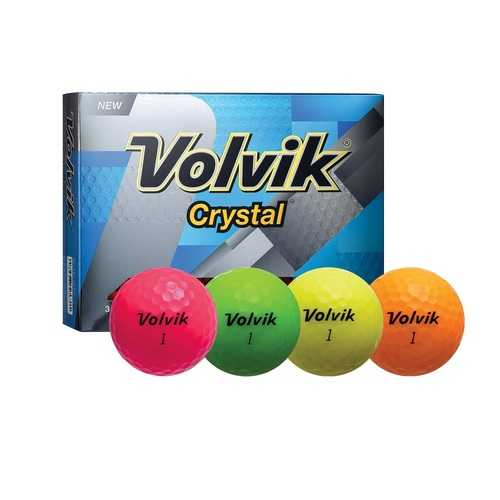 Volvik Crystal 3 Pc Assorted Golf Balls-Pink/Org/ Yellow/Grn