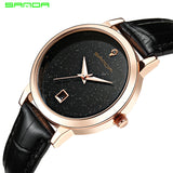 Women Luxury Golden Leather Watch Clock Calendar