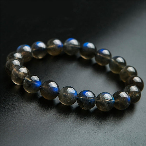 11mm Genuine Natural Labradorite Bracelet Gemstone For Women Men Strong Blue Lights Crystal Round Bead Bracelets AAAAA