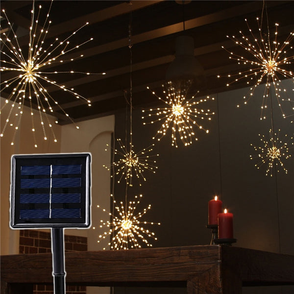 120Led 200 Led Solar Lamp Starburst String Light Copper Wire Solar Panel Powered Fairy DIY Firework Xmas Explosion Wedding Light