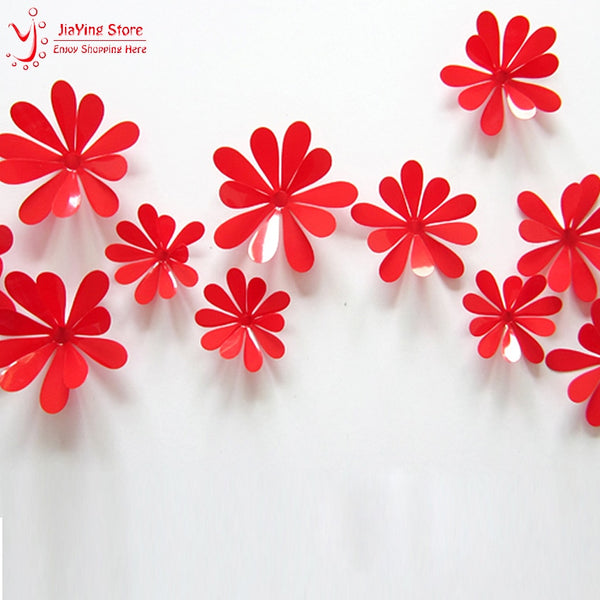 12Pcs/Set PVC 3D Flower Wall Stickers Home Decor Living Room Modern Girl Wall Decals 8 Colors Home Decoration Accessories Y44
