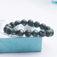 12mm Genuine Natural Gems Stone Green Seraphinite Beads Women Mens Crystal Charm Bracelets