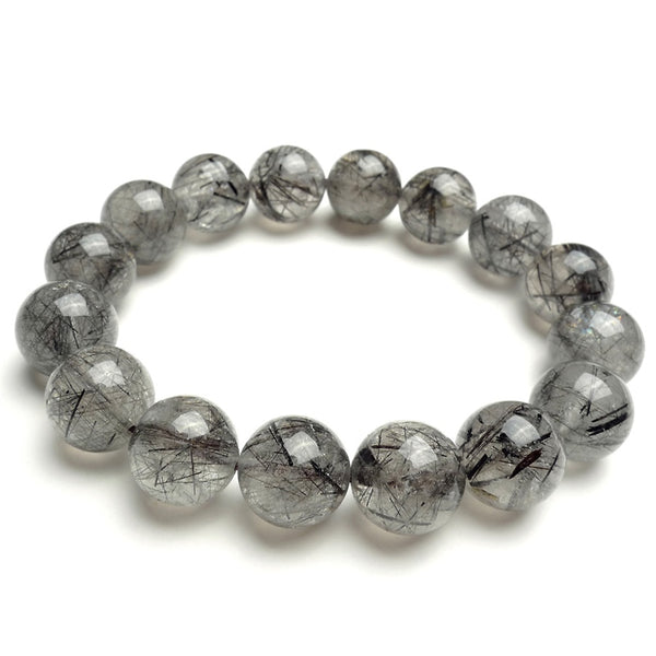 13.5mm Genuine Brazilian Natural Black Hair Rutilated Quartz Crystal Round Beads Fashion Jewelry Mens Stretch Bracelet