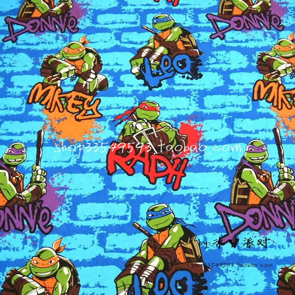 140X100cm Blue Brick Wall Background Ninja Turtles Cotton Fabric for Boy Clothes Bedding Set Sewing Patchwork DIY-AFCK405
