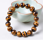 14mm Yellow Tiger Eye Natural Stone Bracelet For Women And Men Jewelry Crystal Silver Charm Bracelets Bangles Elastic Rope Chain