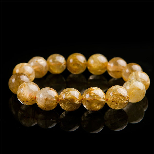 15.5mm Genuine Natural Yellow Gold Hari Needle Round Bead Stretch Charm Bracelets For Women
