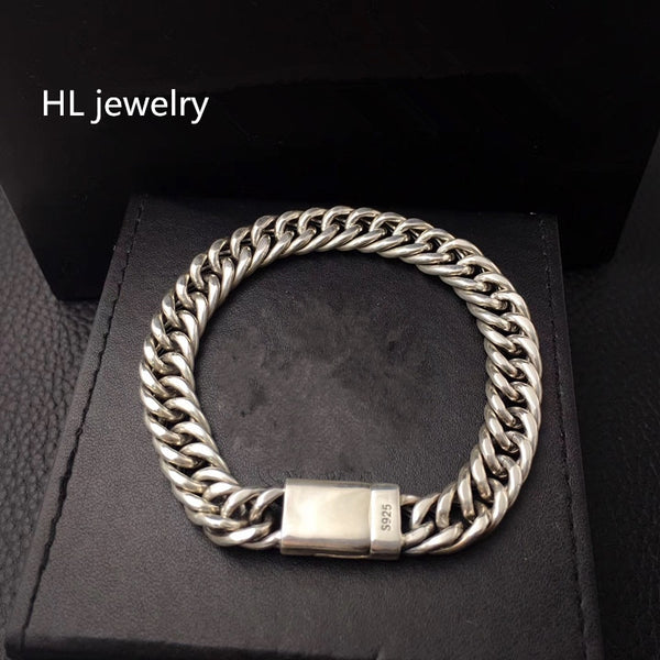 158g 925 Sterling Thai Silver fashion Jewelry Bracelets for Women Men Vintage S925 Solid Thai Silver Chain Bracelets