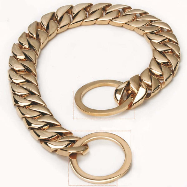"15MM New Arrive Strong 316L Stainless Steel Gold Tone Cuban Curb Chain Pet Supplies Dogs Supplies Neck Collar Choker 12-34"" Hot"