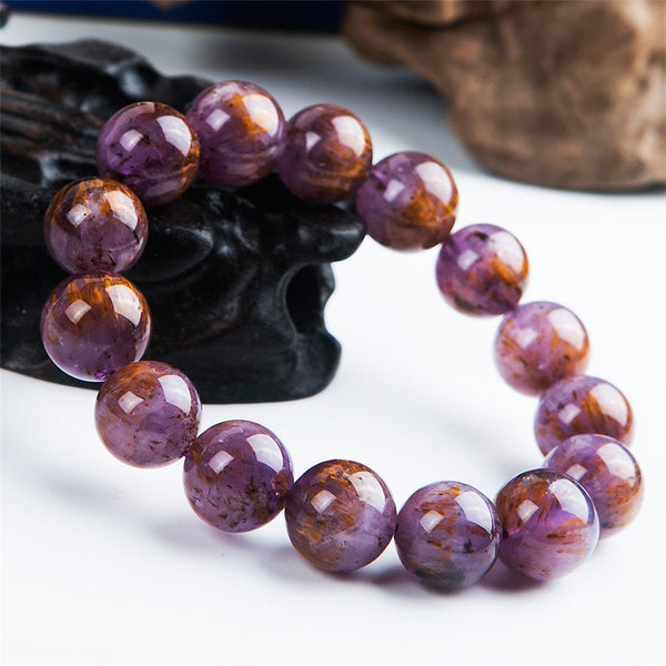15mm Natural Genuine Purple Gold Cacoxenite Titanium Rutilated Quartz Crystal Big Round Bead Power Women Men Stretch Bracelet