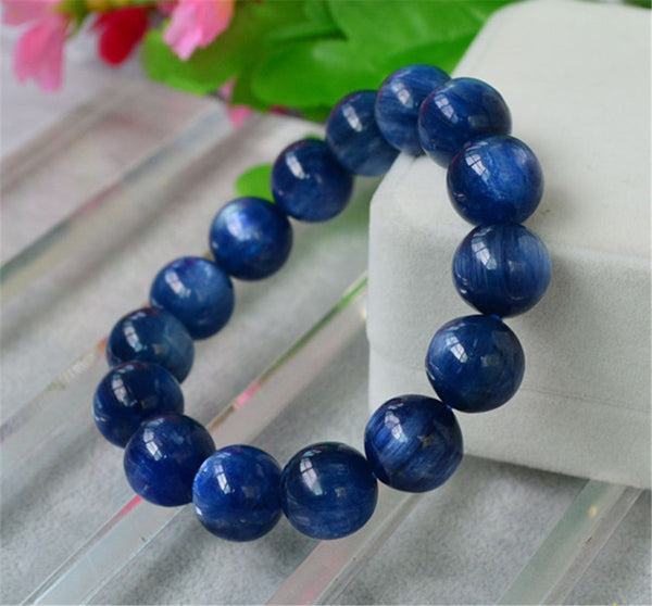 16mm Big Powerful Natural Genuine Blue Kyanite Gems Crystal Round Bead Bracelet For Women And Men Stretch Bracelet