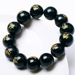 18mm 100% Natural Dark Green HETIAN  Qing Stone Bracelets Round Beads Chinese Fu fortune Bracelets Bangles Men's Jewelry