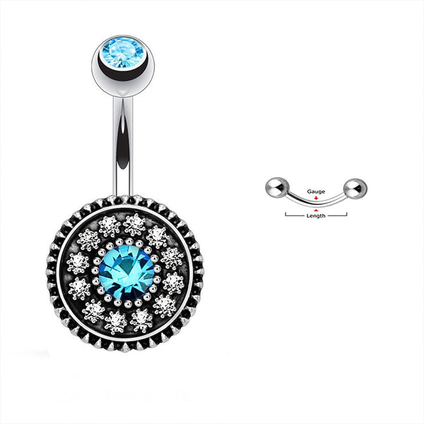 1Pc Vintage Shield Surgical Steel Belly Button Navel Ring Dangle Body Piercing Jewel