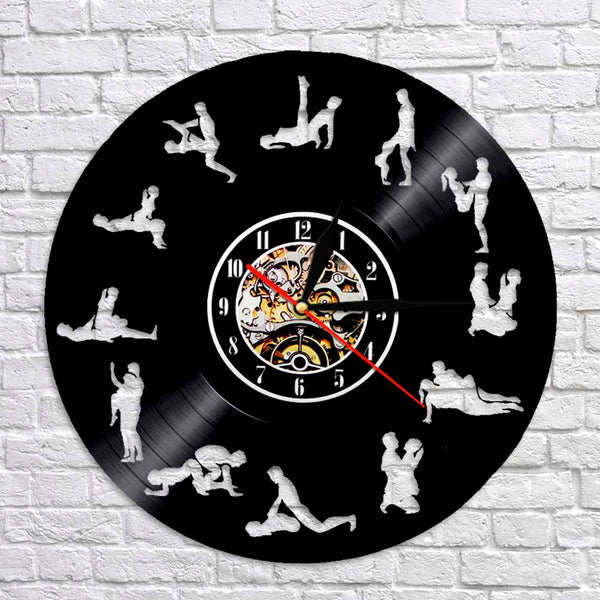 1Piece 24 Hours Sex Position Vinyl Record Time Clock Kama Sutra Art Sex Love 3D Wall Clock Modern Wall Art Decor For Bedroom