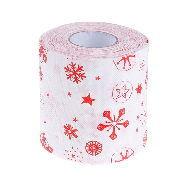 1Roll Merry Snowflake Printed Toilet Paper Xmas Decor Christmas Supplies Home Bath Living Room Toilet Paper Tissue Roll