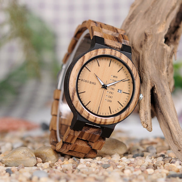 Zebra Wood Army Military Watch With Week Display In Gift Box from Spain