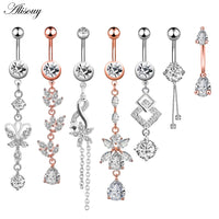 1pc New Zircon Fashion Surgical Stainless Steel Navel Piercing Flower Pendant Belly Button Rings Belly Piercing Body Jewely