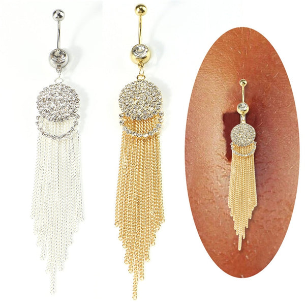 1pcs Trendy Long Tassel Belly Button Ring With Rhinestone Round Pendant Surgical Steel Navel Piercing Bell Stud Body Jewelry