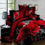 3D Rose Queen Bedding Sets Red Grain Rose 4 Pcs Duvet Cover Bed Sheet Pillowcase Bedclothes Bedroom Home Decor