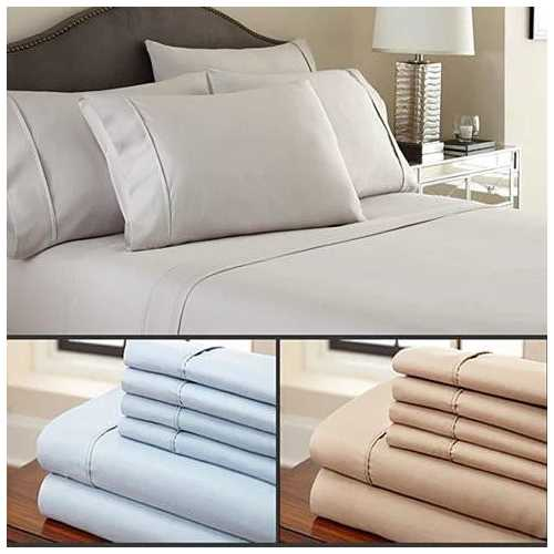 Simple Threads 6pc Set Super Cool Microfiber Bed Sheets Solid Colors 1800 TC