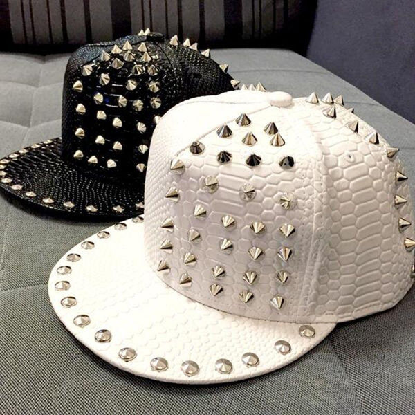 2015 New Arrive Solid Leather Snakeskin grain Rivet Luxury Hats For Unisex Casual Hip Pop Hats Fashion Baseball Cap Snapbac