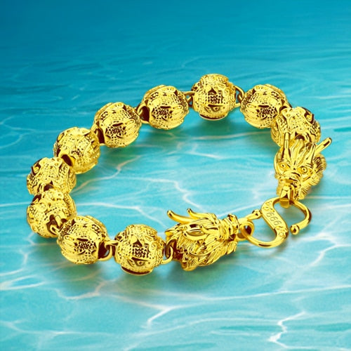 2016 Real Plated  24K  Gold  Bracelet Circular Bead  Jewelry Casting Classic Fashion Men's Dragon Biker Bracelet FREE SHIPPING