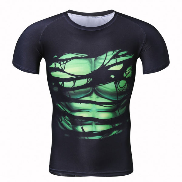 2017  Men's Cool Creative T-Shirt Green lantern Vs Superman Short Sleeve Fitness Bodybuilding Compression 3D T-Shirt PLUS SIZE
