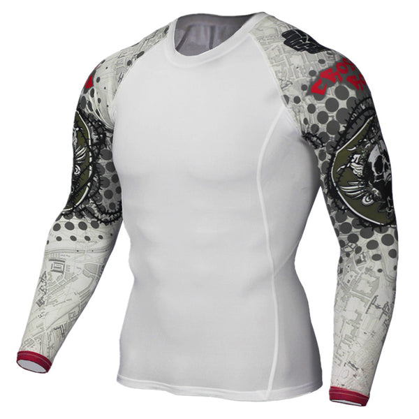 2017 Mens Compression Shirt Slim Fit White Crossfit Bodybuilding T-shirt MMA Fitness Tights Brand Clothing Tops Plus size 4XL