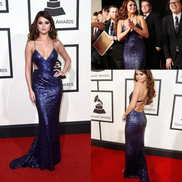 1305b18e01bce 2017 Red Carpet Selena Gomez Celebrity Dress V Neck Purple Sequin Dresses  Long Formal Dresses Backless