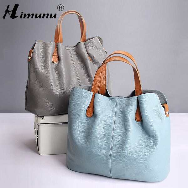 2017 Summer Women Handbag Genuine Leather Tote Shoulder Bag Bucket Ladies Purse Casual Shopping Bag Satchel Capacity Tote Bolsos