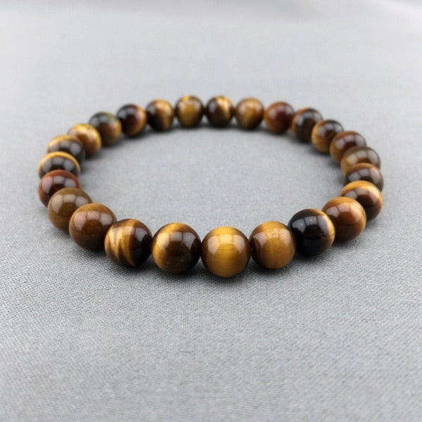 2017 Time-limited Trendy Women Stone Snake Chain New Fashion 10mm High Quality Tiger Eye Beaded Stretch Bracelet Man Jewelry