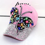 Full Crystal Colorful Big Butterfly Hat Denim Bling Rhinestone Snapback Caps Casquette Summer hats