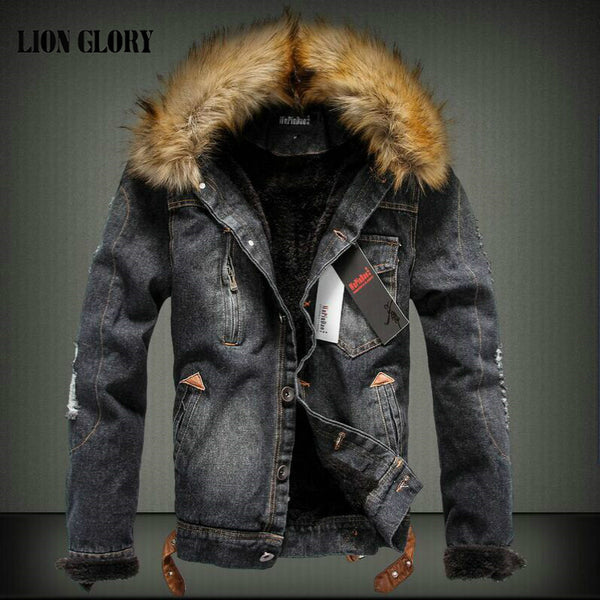 2018 Autumn and Winter Influx of Men Casual Denim Jacket Winter Thick Denim Jacket Retro Jacket Nagymaros Collar Cashmere Coat