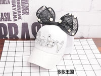 Children Hip Hop Mesh Baseball Cap Summer Baby rabbit ear pearl bow kids Sun Hat Boys Girls snapback Caps for 2-8 years old