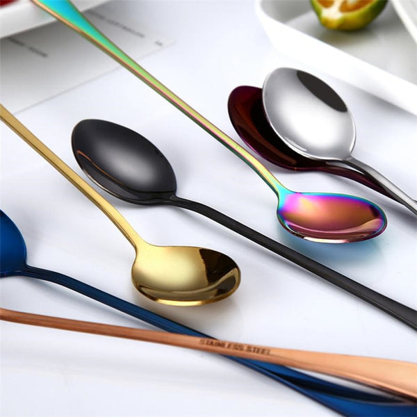 2018 Colorful Spoon Long Handle Spoons Flatware Coffee Drinking Tools Kitchen Gadget Spoon Stainless Steel High quality MM5