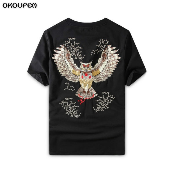 2018 Fashion Owl Manual Embroidery Men Tshirt Cool Funny Men's Tee Shirts Tops Men T-shirt Cotton Casual Mens T Shirts TXS23