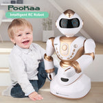 2018 Large Smart RC Robot 2850 2.4G 51CM Head Hand Turn LED expression voice dialogue intelligent Sport rc robot toy with lights