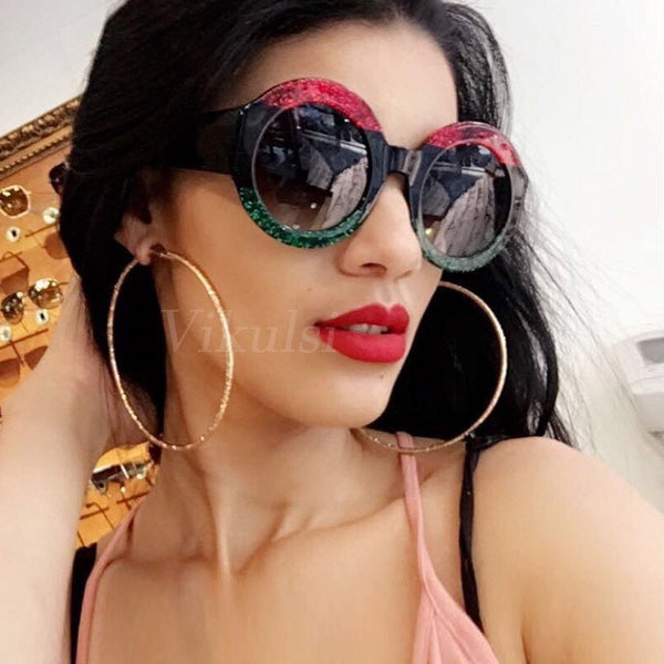 2018 Luxury Oversized Round Sunglasses Women Retro Italy Brand Designer Crystal Frame Sun Glasses For Female Green Red oculos