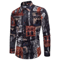 2018 Men's Spring New Fashion Print Shirts Plus Size 5XL Clothing Casual Business Hawaii Long Sleeve Lapel Dress Shirts Tops